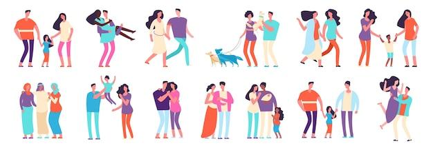 Famiglie diverse. coppie arabe, caucasiche, miste. famiglie eterosessuali e omosessuali con bambini e animali domestici. madri, padri, amici personaggi vettoriali