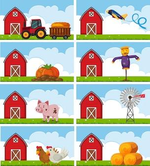 Diversi animali da fattoria e cose in fattoria