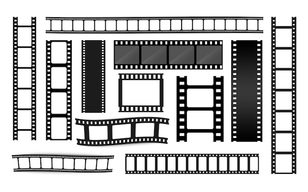Collezione di strisce di pellicola diversa. vecchie strisce cinematografiche retrò. cornice. modelli di strisce cinematografiche. negativo e striscia, pellicola multimediale. rotolo di pellicola vettoriale, pellicola da 35 mm, set di fotogrammi per diapositive