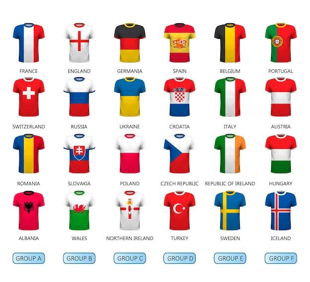 Diverse maglie da calcio con bandiera