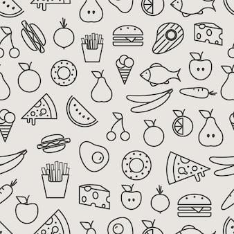 Modello senza cuciture delle icone della siluetta dell'alimento diverso. sfondo lineare di cibo