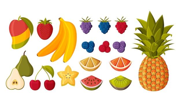 Frutti e bacche differenti messi isolati su fondo bianco. illustrazione.