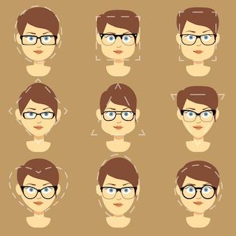Diverse forme di occhiali adatti per le diverse facce di donne vettoriale infografica. formare bicchieri di squa