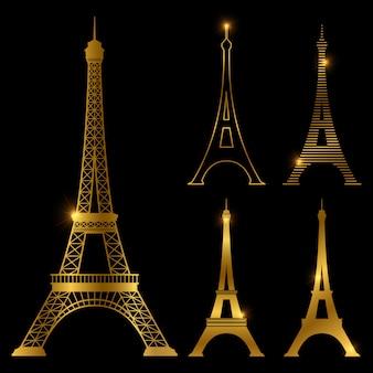 Insieme dorato differente del punto di riferimento di vettore della torre eiffel. parigi