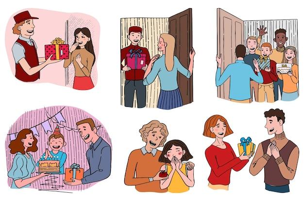 Diversi gruppi di persone con regali, fattorino con confezione regalo. concetto di dare presente, vacanza. set di illustrazioni di scarabocchi. accumulazione di vettore disegnato a mano. disegni colorati isolati su bianco.
