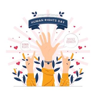 Segno diverso della mano sull'illustrazione del concetto della giornata internazionale dei diritti umani