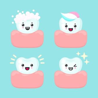 Diversi denti sani, buoni e puliti - schiumosi, dentifricio, splendente, scintillante, stomatologia dentale. Vettore Premium