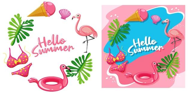 Modello diverso di banner hello summer in tema fenicottero