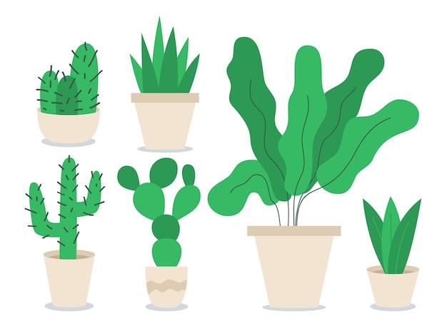 Set di oggetti di colore piatto diverse piante d'appartamento.