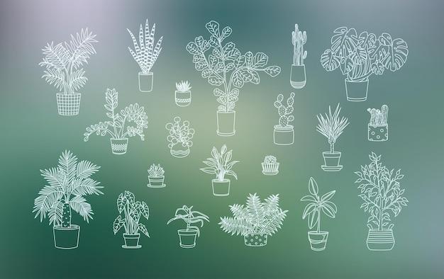 Diverse icone di piante d'appartamento in stile arte linea
