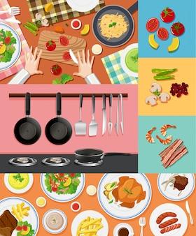 Diversi ingredienti e cibo su sfondi diversi
