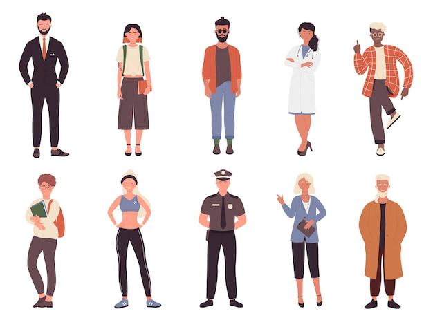 Set di persone diverse per lavoro o hobby