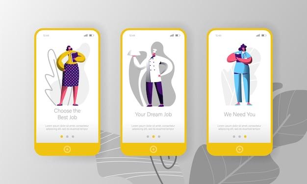Set di schermo a bordo di pagina di app per dispositivi mobili di carattere di opportunità di assunzione di offerte di lavoro diverse.