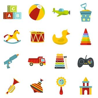 Icone differenti dei giocattoli dei bambini messe nello stile piano