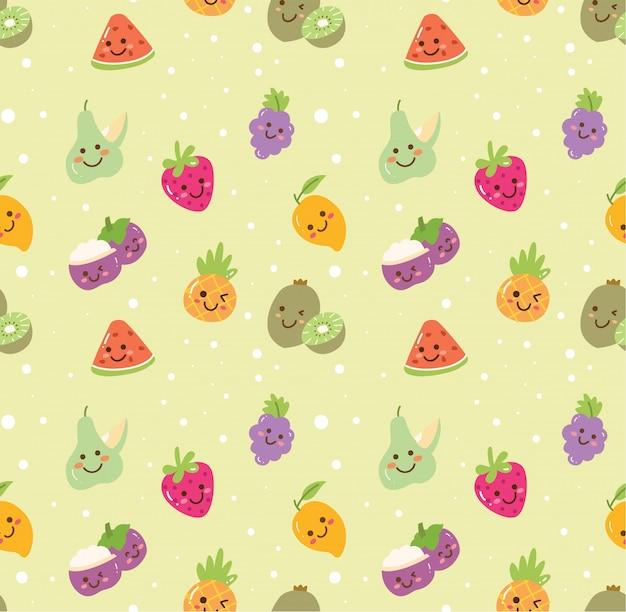 Diversi tipi di sfondo senza giunte di frutta Vettore Premium