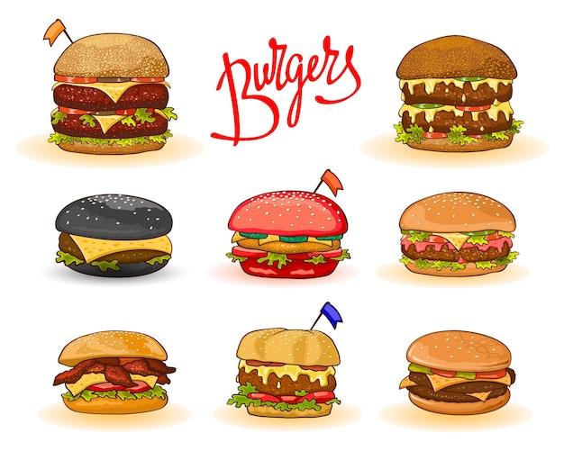 Diversi tipi di hamburger con scritte