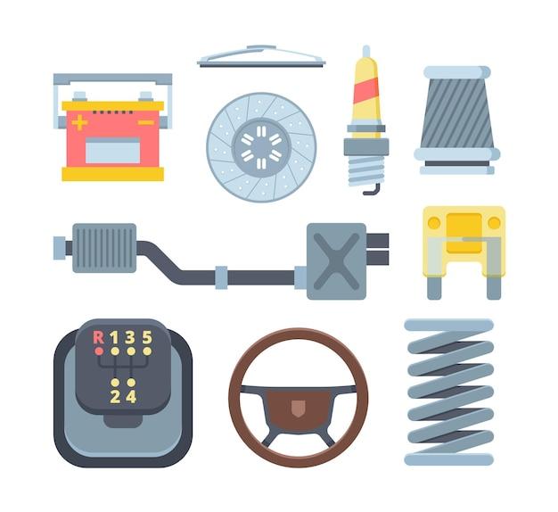 Set di diverse parti meccaniche di automobili piatte. collezione di ricambi auto. copriruota, batteria, candela. attrezzatura per riparazioni meccaniche. elementi automobilistici isolati