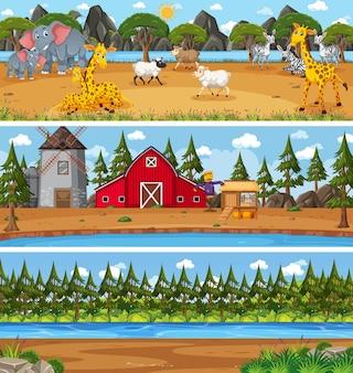 Diverso paesaggio naturale nella scena diurna con personaggio dei cartoni animati