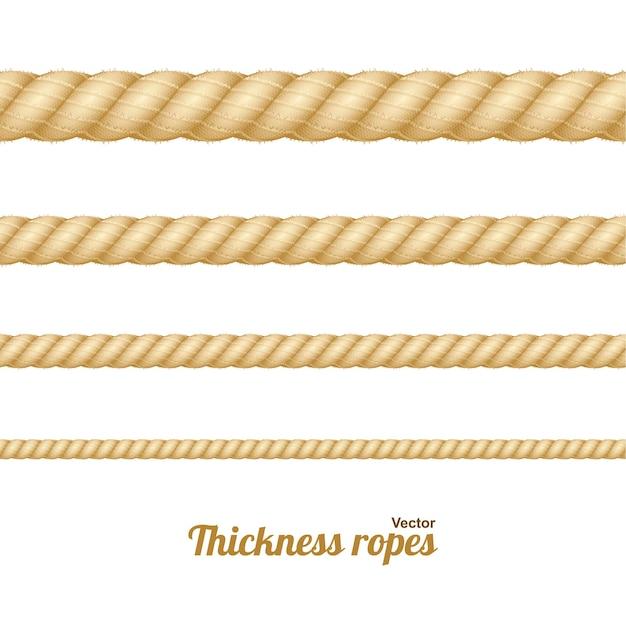 Diversi spago nautico marrone spessore corda insieme isolato su uno sfondo chiaro. illustrazione vettoriale