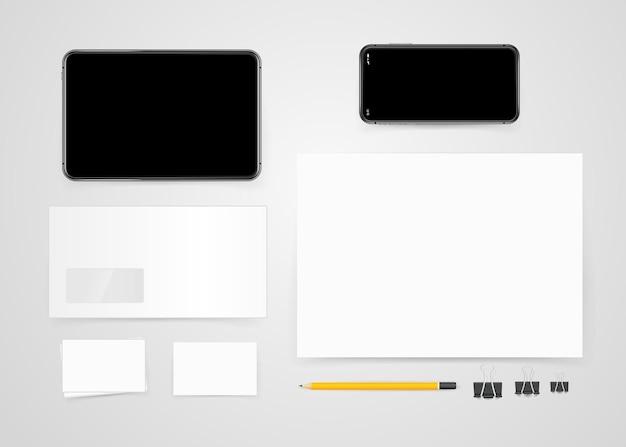 Diversi oggetti da ufficio per il branding. modello vettoriale. modello di identità