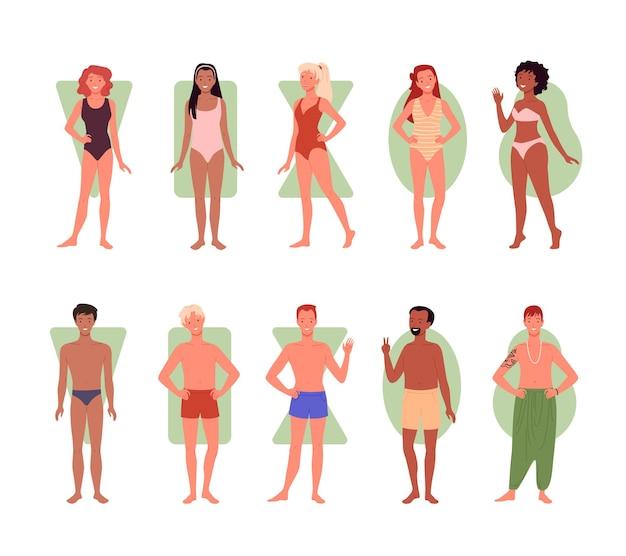 Tipi di forme del corpo di persone diverse illustrazione vettoriale infografica imposta un gruppo diversificato di uomo donna
