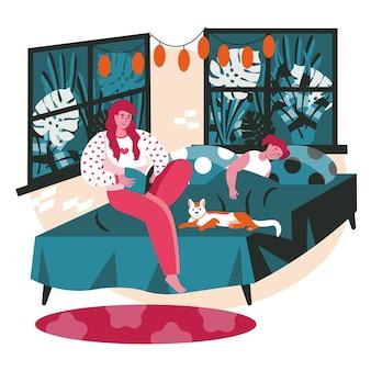 Diverse persone che si rilassano nel concetto di scena della camera da letto accogliente. la mamma legge il libro a sua figlia, la ragazza dorme a letto. attività di riposo e tempo libero. illustrazione vettoriale di personaggi in design piatto
