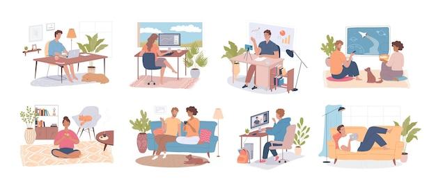 Diverse persone lavorano, parlano, studiano, si rilassano a casa, set di illustrazioni vettoriali per i personaggi dei cartoni animati