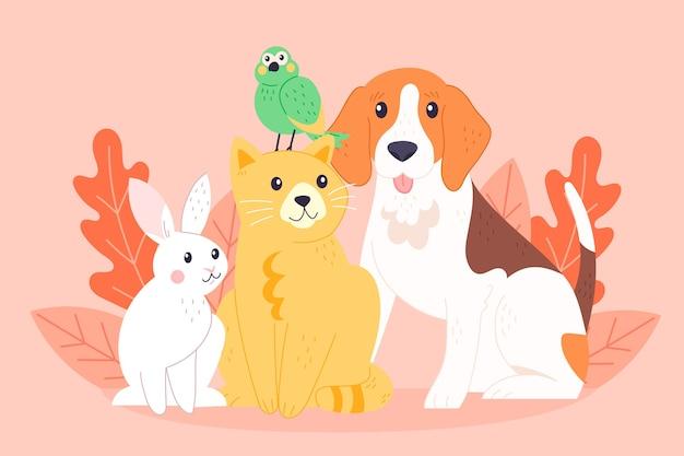 Concetto di diversi animali domestici