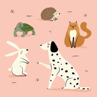 Concetto di illustrazione di diversi animali domestici