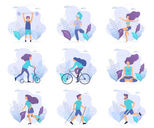Diverse attività fisiche illustrazione vettoriale piatta