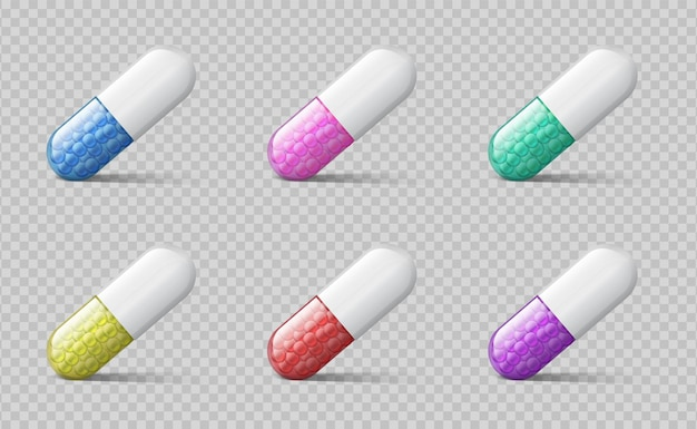 Pillole diverse. capsule mediche a colori. droghe realistiche della medicina 3d con granuli di sostanza terapeutica. compresse di vitamine farmacia sanitaria illustrazione vettoriale isolato su sfondo trasparente