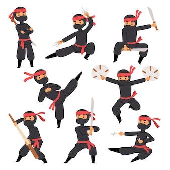 Diverse pose di combattente ninja in panno nero personaggio guerriero spada arma marziale uomo giapponese e maschera di azione persona cartone animato karate