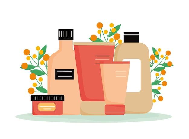 Diversi prodotti per la cura del viso e del corpo con fondo floreale crema balsamo gel shampoo