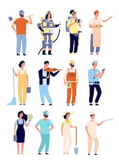 Diversi professionisti. poliziotto e vigile del fuoco, cameraman e artista, addetto alle pulizie e insegnante, giardiniere. persone isolate caratteri vettoriali
