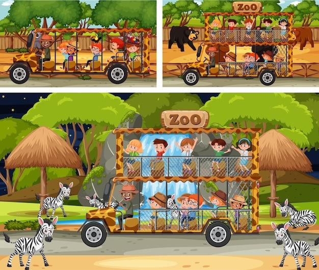 Diverse scene di safari con animali e personaggi dei cartoni animati per bambini