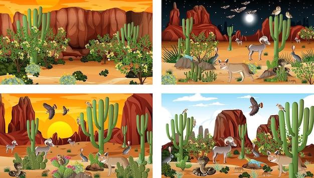 Diverse scene con paesaggi forestali desertici con animali e piante