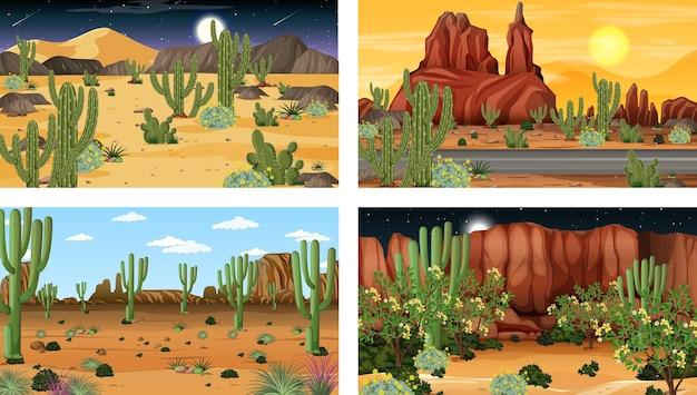 Diverse scene con il paesaggio della foresta desertica con varie piante del deserto