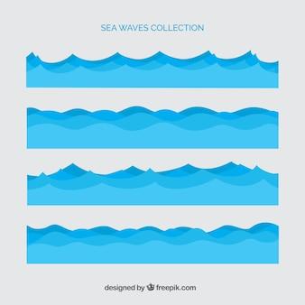 Diversi onde del mare Vettore Premium
