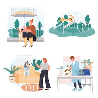 Diverse situazioni nella vita di scene concettuali di animali domestici impostano l'illustrazione vettoriale dei personaggi Vettore Premium