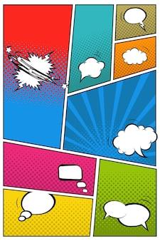Fumetti diversi su sfondo pop art illustrazione vettoriale