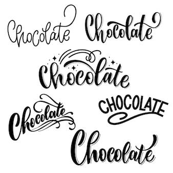 Ortografia diversa della parola cioccolato scritta a mano lettere elementi di design vettoriale per magliette