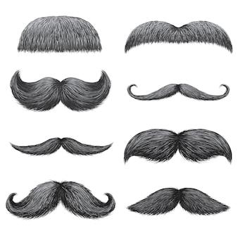 Diversi stili di baffi realistici maschili impostati