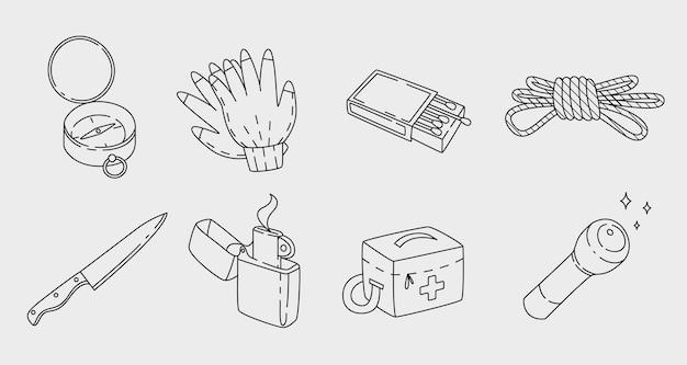 Diversi oggetti di sopravvivenza e campeggio nel design del contorno