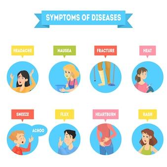 Diversi sintomi della malattia.