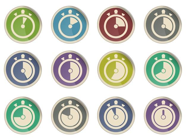 Collezione di icone di timer diverso isolato su bianco