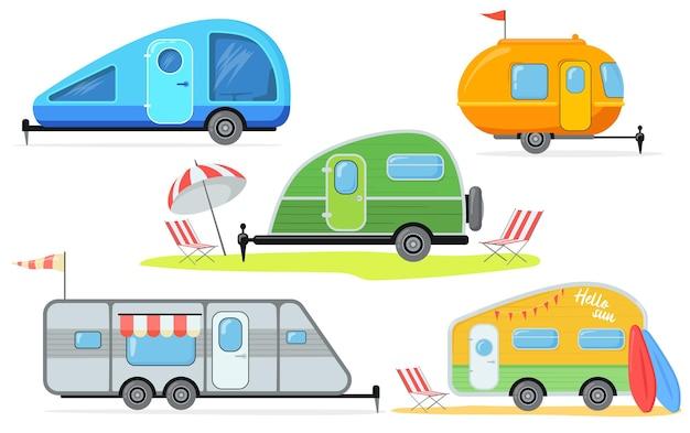 Diversi rimorchi per l'illustrazione del campeggio