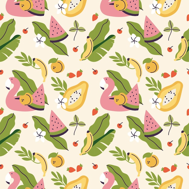 Diversi frutti tropicali e cintura di fenicottero seamless pattern