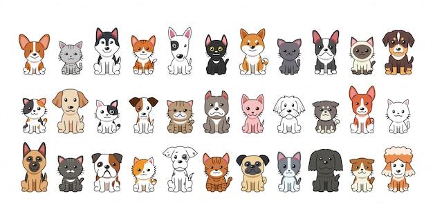 Diversi tipi di cartoni animati di cani e gatti