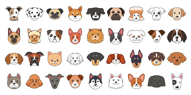 Diversi tipi di facce di cane dei cartoni animati per il design.