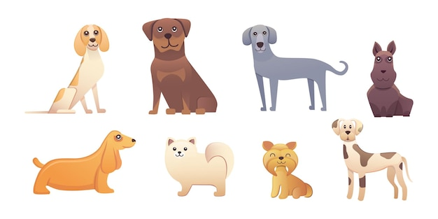 Diversi tipi di cani dei cartoni animati. illustrazione stabilita del cane felice.